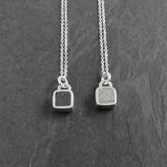 Small square pendant necklace in grey or black concrete / sterling silver pendant / concrete jewelry / cement jewelry / concrete pendant Gold Pendant, Sterling Silver Pendants, Sterling Silver Chains, Gold Bar Necklace, Pendant Necklace, Cement Jewelry, Armor Ring, Rustic Jewelry, Handmade Jewellery