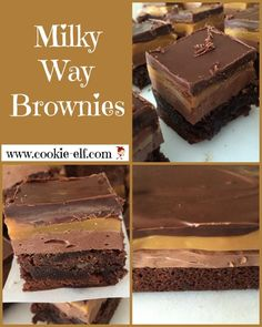 Milky Way Brownies: a simple layer cookie version of the popular candy bar. Milky Way Dessert, Milky Way Cake, Dessert Bars, Cake Mix Cookie Recipes, Cake Mix Cookies, Candy Recipes, Brownie Recipes, Yummy Treats, Delicious Desserts