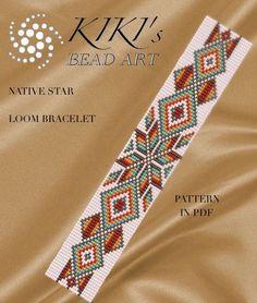 loom pattern - Native star - LOOM bracelet pattern in PDF - instant downloa.Bead loom pattern - Native star - LOOM bracelet pattern in PDF - instant downloa. Loom Bracelet Patterns, Seed Bead Patterns, Bead Loom Bracelets, Weaving Patterns, Jewelry Patterns, Jewelry Ideas, Jewelry Bracelets, Macrame Bracelets, Silver Bracelets