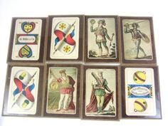Hard to pronounce these names, but just know the coasters are awesome! Schaffhauser Spielkartenfabrik Muller Cie #TarotCard Coaster Set 8 Vintage Exc