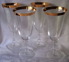 Set of 4 Mikasa Estate Glasses w/Gold Trim
