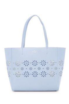 f694760dd72a Kate Spade New York Faye Drive Hallie Blue Daisies Perforated Leather Tote  Bag  katespadenewyork