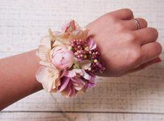 ピンクのあじさいと実の花冠&リストレット2点SET