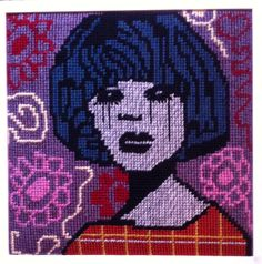 Niki McDonald's tapestries fuse the design elements of graffiti and ripped layered billposters with the traditionally feminine technique of tapestry. Niki take Contemporary Embroidery, Australian Artists, Design Elements, Graffiti, Darth Vader, Tapestry, Portrait, Gallery, Mixed Media