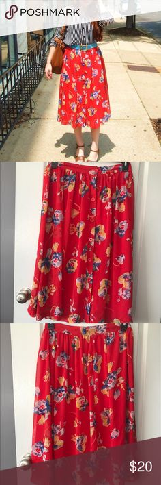 Forever21 • Red Floral Skirt Worn once! In great used condition. Actually purchased from store with missing 2nd button, but on me u could tell when wearing. Beautiful red skirt with floral detail, button up front. Perfect for spring and summer! No trades. Forever 21 Skirts Midi