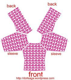 DIY –T Shirt Pattern For Barbie T-shirt Babylone pattern - patron bebe Sewing Barbie Clothes, Barbie Sewing Patterns, Barbie Dolls Diy, Doll Dress Patterns, Crochet Doll Clothes, Sewing Dolls, Barbie Dress, Barbie Barbie, Shirt Patterns