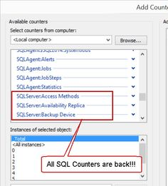missing perfmon counters Server Problems, Sql Server, Counter