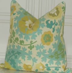 Yellow Teal Aqua Decorative Richloom Basketweave Floral Toss Pillow Cover // 18x18. $38.00, via Etsy.