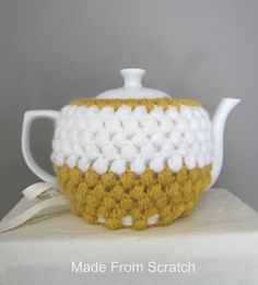 Crochet Teapot cozy in mustard yellow and white. #teapot #cozy #teapotcozy #mustard