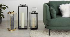 Alyx große Laterne, Schwarz   MADE.COM Grande Lampe, Hurricane Lanterns, Piece A Vivre, Glass Panels, Your Space, Pillar Candles, Modern, Living Room, Interior Design