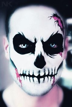Skeleton/skull facial SFX makeup idea / looks awesome piared with some Gothic white special effects contacts with black limbal ring => http://www.pinterest.com/pin/350717889705820283/
