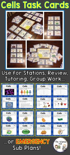 Cells Task Cards. Your students will love this Cells task card set.  These cards are great for review, rotations, partner work, or independent study.