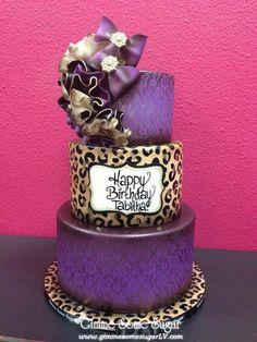 Purple & Leopard Cake