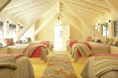 Summer Sleeping Porch ~ Humpdays with Houzz - Town Country Living: Bunk room, Traditional Bedroom by Cambridge Interior Designers Decorators Kate Maloney Interior Design Bunk Rooms, Attic Bedrooms, Guest Bedrooms, Attic Bedroom Kids, Bunk Beds, Shared Bedrooms, Bedroom Bed, Guest Room, Attic Renovation
