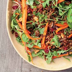 Roasted Carrot and Red Quinoa Salad | 37 Delicious Vegetarian Recipes For Thanksgiving