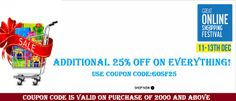 Get additional  25% off by using GOSF25 offer valid till 13 dec 2013