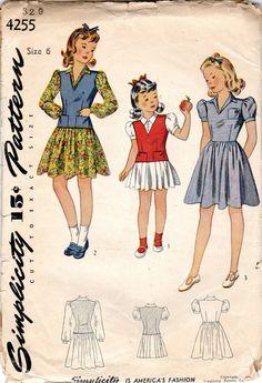 1940s Girls' Dress & Jerkin or Vest Pattern  Size 6 by JeaniesShop