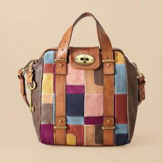 another patchwork leather bag by FOSSIL Fossil Handbags, Fossil Bags, Satchel Handbags, Frame Bag, Patchwork Bags, Bago, Fashion Bags, Diaper Bag, Tote Bag