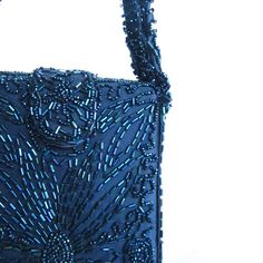 2e8bf25d97e9 Vintage 1940s Beaded Evening Bag Midnight Blue   40s Beaded Silk Purse  Warren by BasyaBerkman on