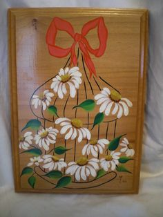 Wood Tole Painting Daisies in a cage, Picture Wall Hanging Plaque, Folk Art on Etsy, $7.00