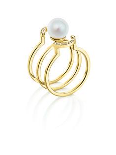 Anel em ouro com diamantes e pérola Coleção DuJour de Bergerson Joias CFAD2860   #Jewelry #Gold #Joias #Anel #ColeçãoDuJour #BergersonJoias