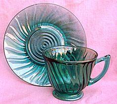 SWIRL PETAL MARINE JEANNETTE CUP & SAUCER