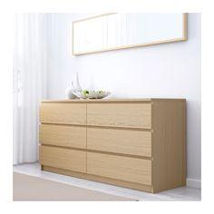 MALM Cómoda 6 cajones - chapa roble tinte blanco - IKEA