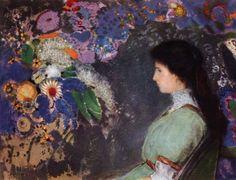"""""""Portrait of Violette Heymann"""" by Odilon Redon (1910)"""