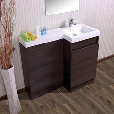 Aston Right Hand Dark Oak Bathroom White Basin Vanity Unit & Toilet Unit - 1000mm
