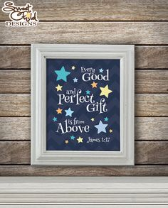 Twinkle Little Star Baby Nursery Art Wall Decorations Infant Bible Verse Wall Art Star Decor Child Room Stars and Moon- One (1) 8x10 Print
