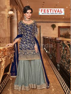 Sharara Suit In Navy Blue Color Top And Dupatta Paired With Contrasting Grey Color Bottom. Top, Bottom, And Dupatta Are Fabricated On Net Beautified With Heavy Embroidery Pakistani Sharara, Pakistani Dresses, Indian Dresses, Black Pakistani Dress, Pakistani Suits, Pakistani Bridal Hair, Pakistani Mehndi Decor, Punjabi Suits Party Wear, Pakistani Fashion Party Wear