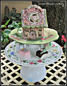Love Cottage Garden Totem / Pedestal Stand by GardenWhimsiesByMary, $45.00
