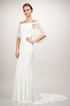 lacy off the shoulder wedding gown from Theia <3
