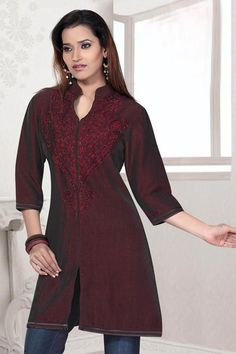 Maroon Cotton Silk Readymade Tunic Online Shopping: TWS1728