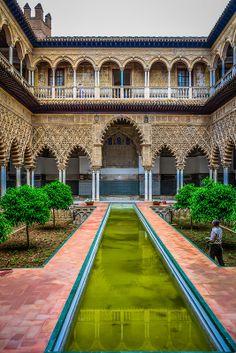 The Courtyard of the Maidens at Royal Alcazars of Sevilla, Spain