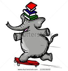 Elephant Balances Books On Skateboard - stock vector