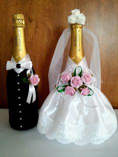 Nevesta a ženích - šampanské - NikaLUX #decoratedwinebottles