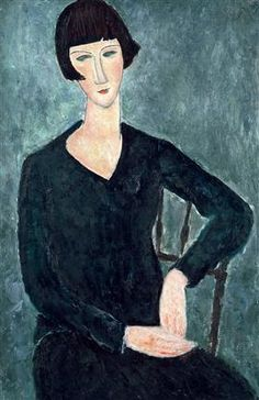 Woman Sitting in Blue Dress - Amedeo Modigliani