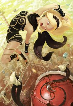 aircraft airship alias (gravity daze) arata yokoyama barnacle battle blonde hair cityscape cloud control tower fighting flying gravity daze high heels highres kitten (gravity daze) open mouth red eyes science fiction shoes sky tentacle - Image V Character Concept, Character Art, Character Design, Gravity Rush Kat, Gravity Daze, Video Game Art, Video Games, Science Fiction, Cool Art