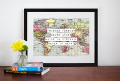 World Map Print Friendship Quote Map Art Friend by oflifeandlemons