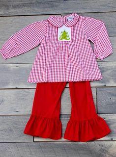47f2aff6ec0 Girls Red Windowpane Pant Set