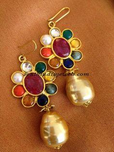 Designs of Gold Earrings Diamond Jewelry, Gold Jewelry, Jewelery, Gemstone Jewelry, Indian Wedding Jewelry, India Jewelry, Jewelry Patterns, Necklace Designs, Gold Earrings