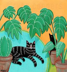 """Black Tabby Cat and Table Plants Cat Folk Art Painting """"The Table Plants"""" -Painted with Golden acrylics. -Approx. 8"""" x 7 1/4"""" x 1"""" Piece of pine -Topped with two coats of gloss varnish. -Signed, titled, and dated on the back by Ryan Conners. Samuel in his private...err semi-private jungle spot!"""