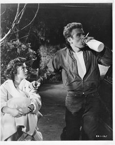 James Dean and Natalie Wood. On the set of 'Rebel Without a Cause' while drinking milk. Gulp gulp.