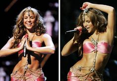 Pint sized colombian pop star Shakira went for a Bollywood mermaid look at one of her past concerts. We think the detailed belly chain and headpiece look wonderful on her.
