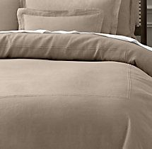 Stonewashed Belgian Linen Satin-Stitch Duvet Cover in Prairie -- Restoration Hardware