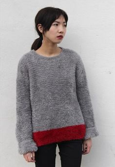 Vintage 1980's cosy fluffy grey chenille Jumper