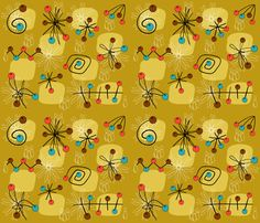atomic_mustard fabric by peppermintpatty on Spoonflower - custom fabric
