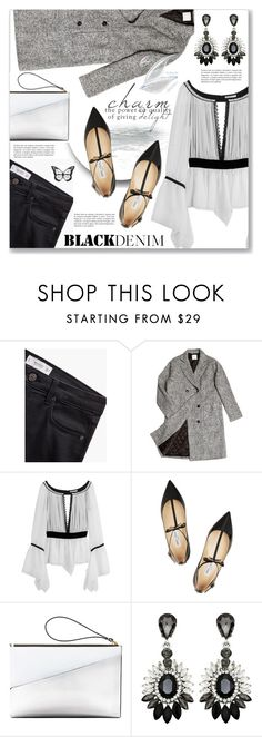 """""""Denim Trend: Black Jeans"""" by dressedbyrose ❤ liked on Polyvore featuring MANGO, ssongbyssong, Emilio Pucci, Jimmy Choo, Marni, women's clothing, women's fashion, women, female and woman"""