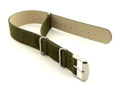 Suede Leather Nato G10 Military Watch Strap Olive Green 18mm
